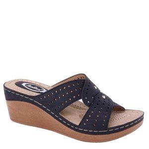 Italina Black Comfort Wedge Slide In Mule Sandal